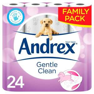 Andrex Gentle Clean 24 Rolls £7.25 (£3 off coupon automatically applied) @ Ocado