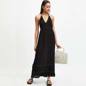 Miss Selfridge - Black Lace Insert Maxi Dress (Was £35) Now £10 delivered @ Debenhams