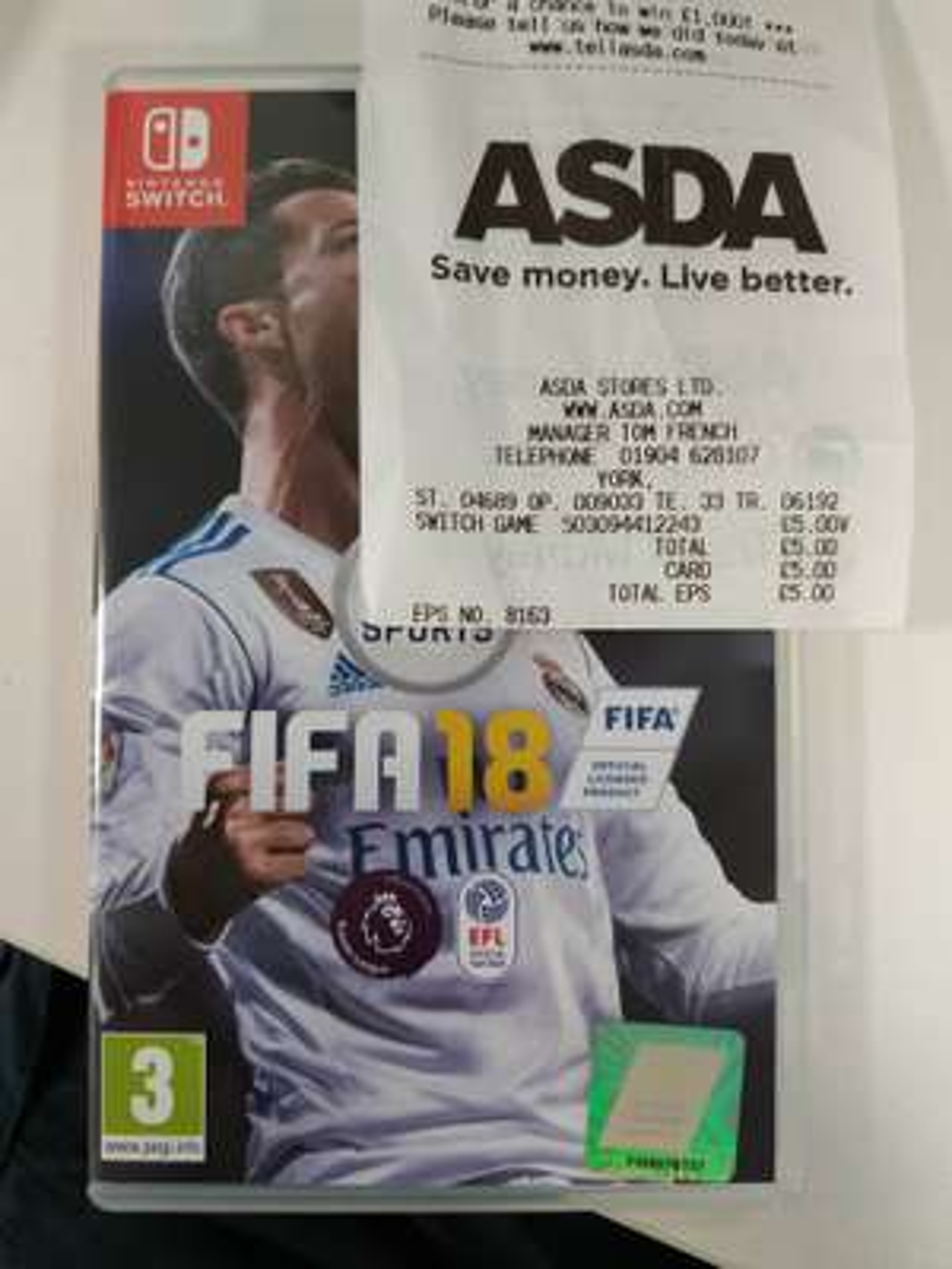 FIFA 18 Nintendo Switch £5 at Asda York