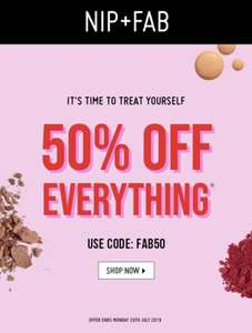 50% off everything on Nip+Fab with code