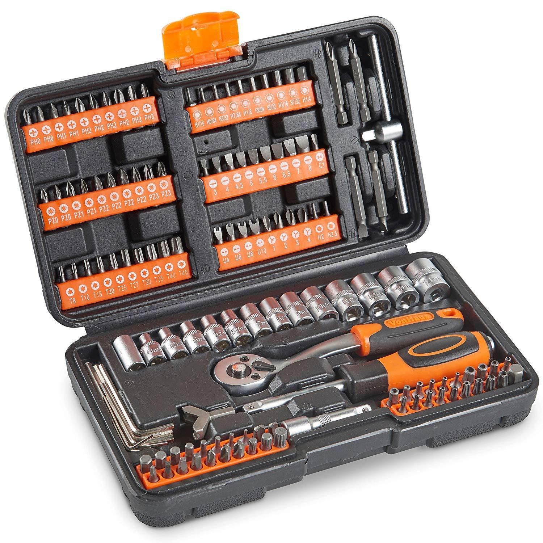 VonHaus Socket Set 130pc + Screwdriver Bit Set Including 72-teeth Ratchet Handle - £14.99 delivered @ Domu eBay