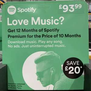 12 Months Spotify Subscription - £93.99 Instore @ Costco