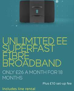 EE fibre £26pm 18months (£10 upfront) (w/ £120 Amazon credit) £478 @ VoucherCodes ENDS TODAY 4/8/19