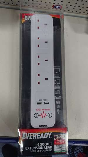 Eveready 2m 13a 4 gang 2xUSB Surge Protected extension lead - £9.99 instore at B&M