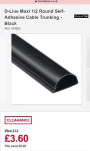 D-Line Maxi 1/2 Round Self-Adhesive Cable Trunking - Black £3.60 Homebase c&c