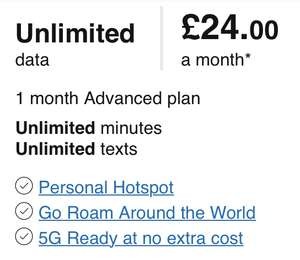 30 day UNLIMITED U.K. DATA/call/texts sim (71 roaming countries) £24 @ Three