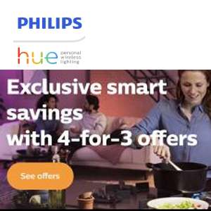 Philips Hue 4 for 3 Mix & Match Offer - Cheapest Item Free @ Philips Online Shop