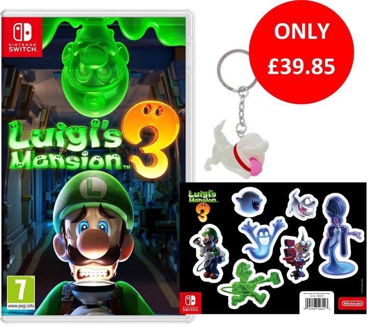 Luigi's Mansion 3 + Glow in the Dark Sticker Sheet (ShopTo Exclusive) & Glow in the Dark Keyring £39.85 Delivered @ Shopto