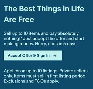 Sell up to 10 items and pay absolutely nothing!* (Account Specific) @ Ebay