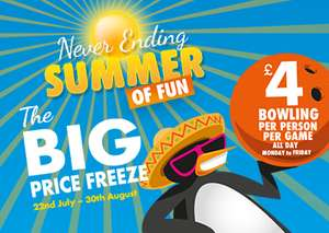 Namco FunScape bowling for £4 Monday to Friday until 30th August