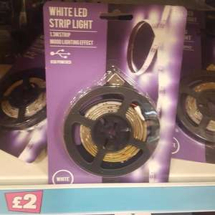 White LED strip light 1.3m £2 poundland