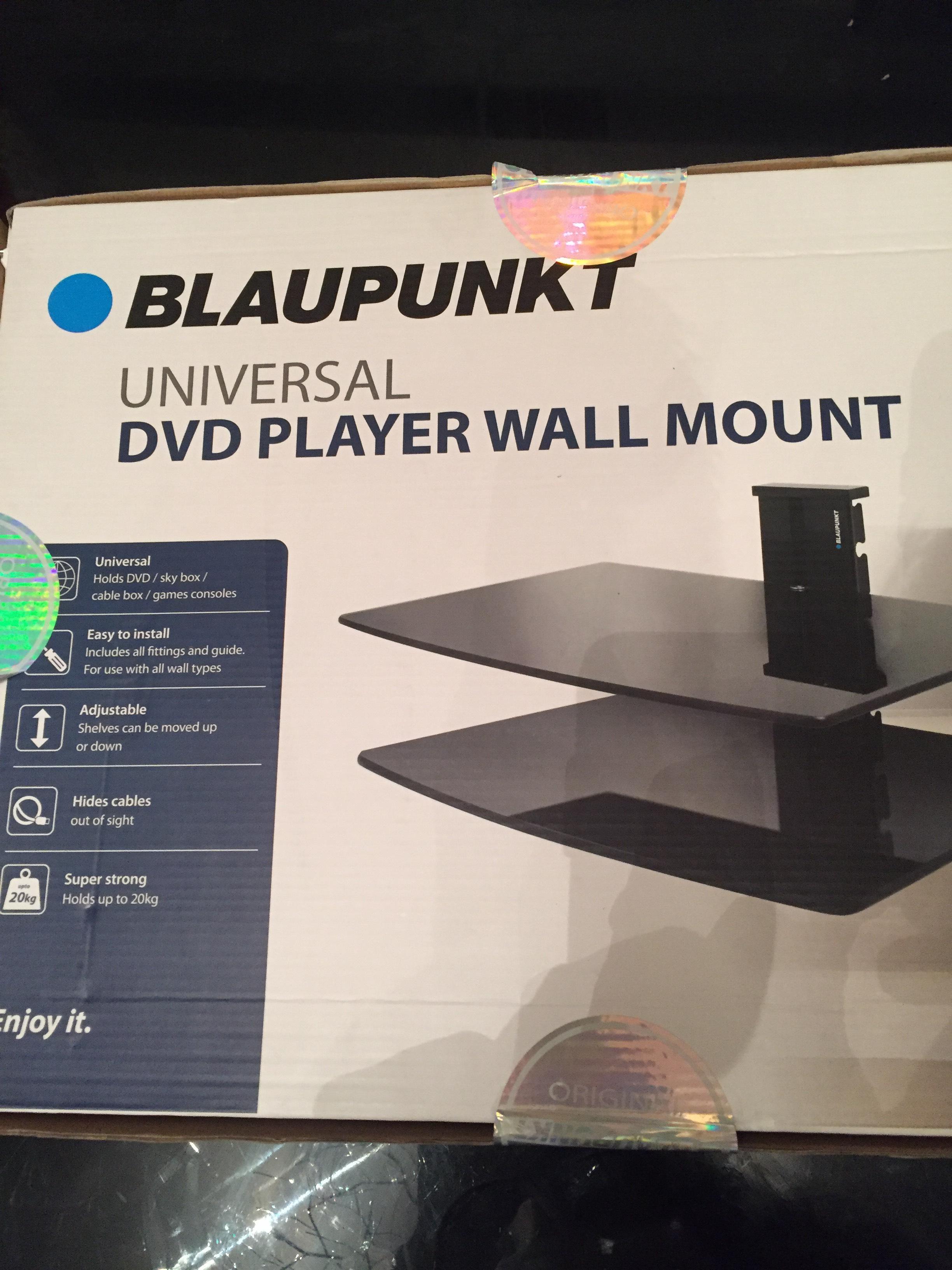 Blaupunkt DVD/Sky/Games Consoles Wall Mount Double Glass Shelves - £1 Instore at B&M