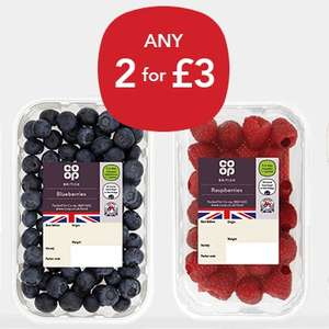 Any 2 for £3 juicy, ripe summer berries at Co-operative