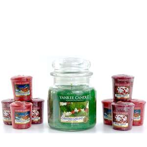 9 Piece Christmas Garland Yankee Candle Bundle - 1x Medium Garland Jar + 8 Festive Votives £14.25 Delivered with code @ Yankee Bundles