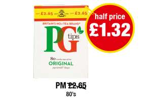 PG Tips Pyramid 80's £1.32 @ Premier stores
