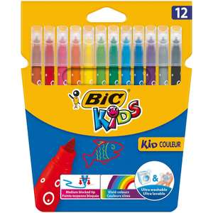 BIC Kids Kid Couleur Felt Tip Colouring Pens - Assorted Colours, Cardboard Wallet of 12 only £1.50 @ Amazon Prime / £2.49 Non Prime