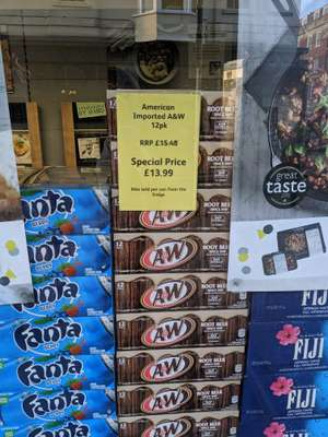 Local Londis (Weymouth) A&W Root Beer 12x355ml cans (£1.16 p/can) £13.99