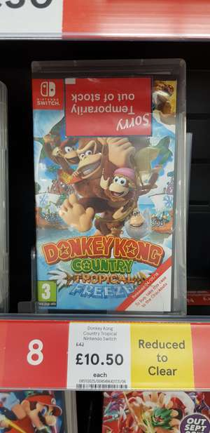 Donkey Kong Tropical Freeze Nintendo Switch instore at Tesco for £10.50