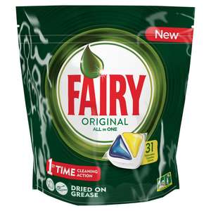 Fairy Original All in One Lemon Dishwasher Tablets 31 pack £1 at Wilko (instore)
