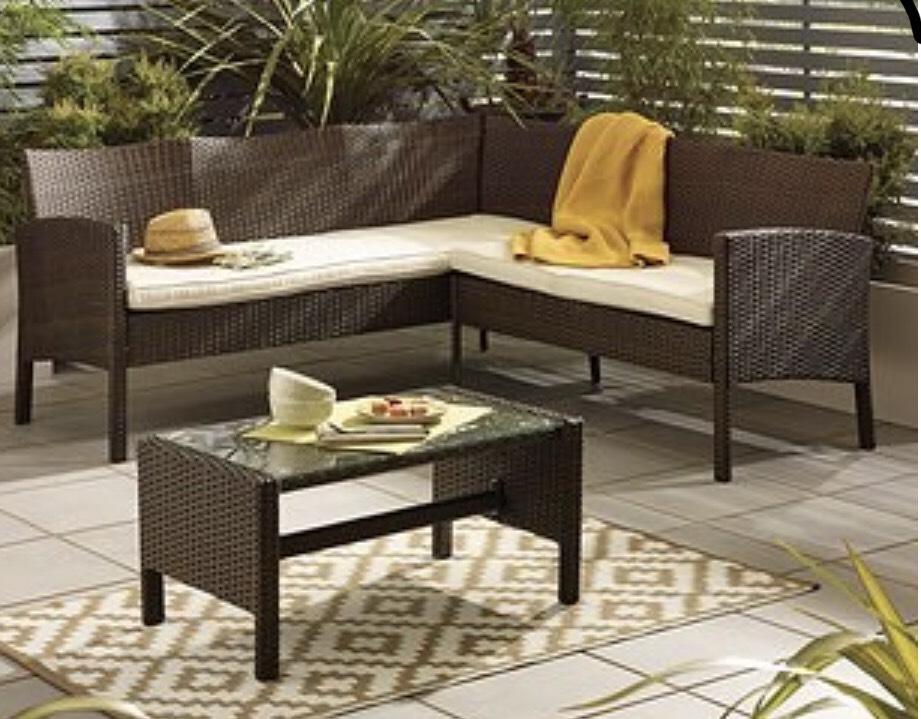 Brown Rattan Corner Sofa Set - £149.50 + £9.95 delivery @ Dunelm