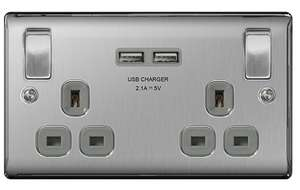 Nexus Metal NBS22UG 13A Double Plug Socket with 2 x USB Charger (3.1A), Brushed Steel Finish, Grey Inserts £10.75 @ The Electrical Showroom