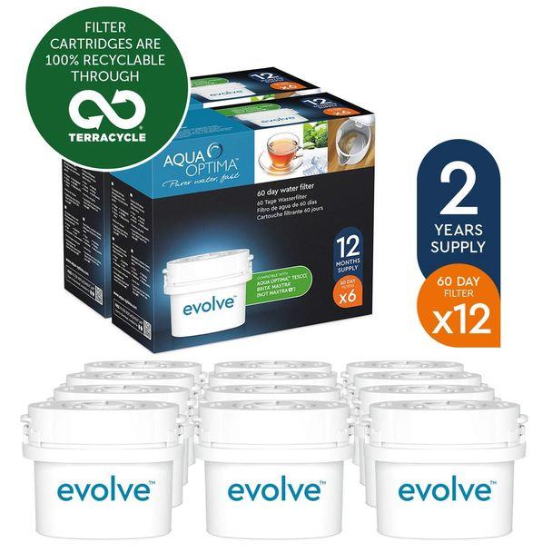 12 x Aqua Optima Evolve 60-Day Water Jug Replacement Refill Filters, 2 Year Pack £26.96 Ozaroo.com