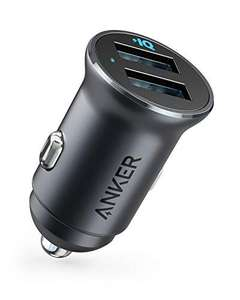 Anker Car Charger, Mini 24W 4.8A Metal Dual USB, PowerDrive 2 with Blue LED - £5.99 / + £4.49 non Prime Sold by AnkerDirect and Fulfilled by Amazon