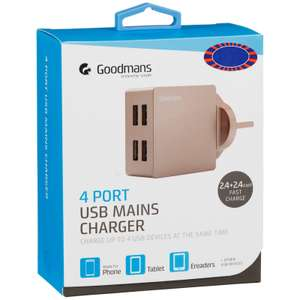 Goodman's fast charge 4 port USB charger plugs - £3 instore @ B&M