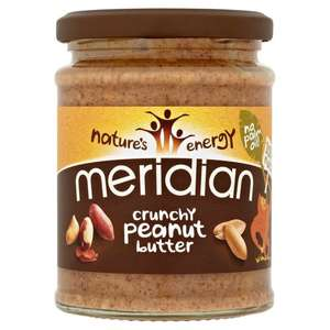 Meridian Natural Crunchy (or Smooth) Peanut Butter (280g) now £1.50 @ Tesco