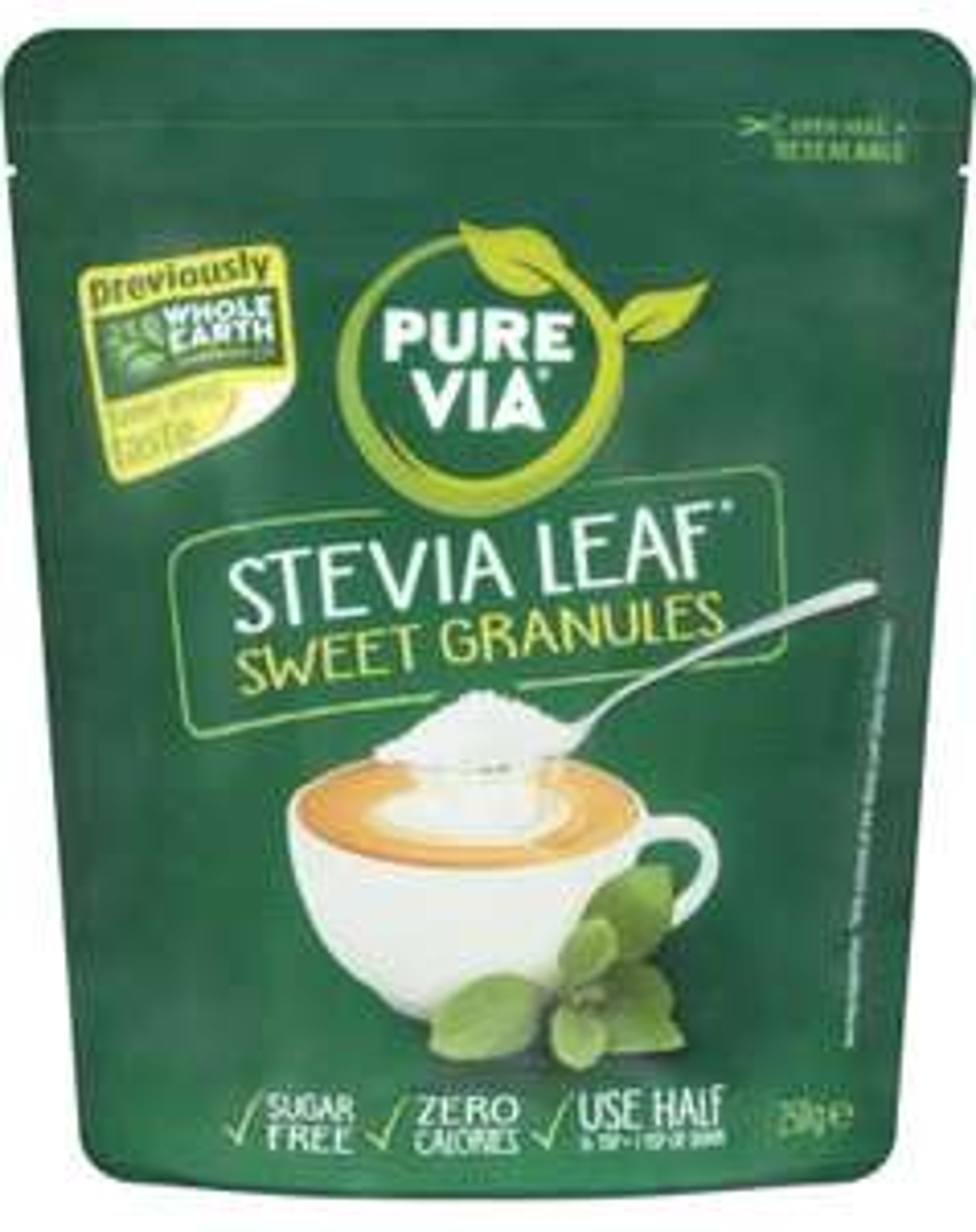 Pure Via Stevia Leaf Sweet Granules 250g £2.10 Sainsbury's