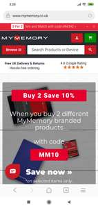 Buy 2 save 10%, when you buy 2 MyMemory branded products, with code: MM10, at MyMemory