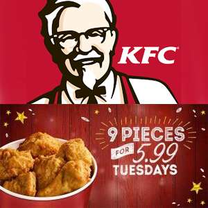 Chicken Tuesday  - 9 pieces of Original Recipe Chicken on the bone for £5.99 @ KFC