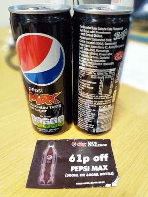 Free Pepsi Max 250ml at front of Holborn underground station today