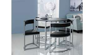 Milan Space Saver Table & 4 Chairs - Black £91.94 Delivered @ Argos