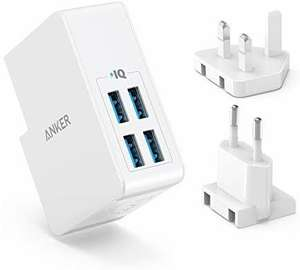Anker USB Plug Charger 5.4A/27W 4-Port USB Charger, for £10.99 With Voucher @ Sold by AnkerDirect & Fulfilled by Amazon