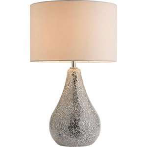 Argos Home Eloise Crackle Finish Table Lamp - Silver - £3.75 RRP £25 C&C @ Argos