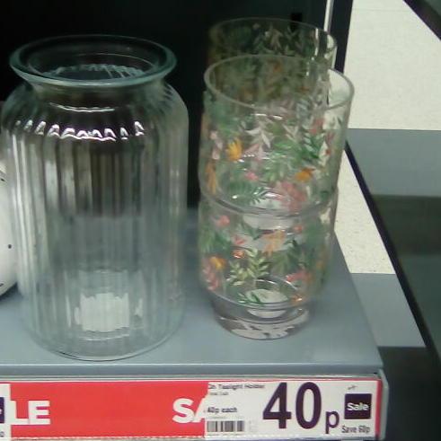 Decorative Glass Floral Tealight Holder 40p / Ceramic Tealight Holder 50p  @ Asda ( in store )