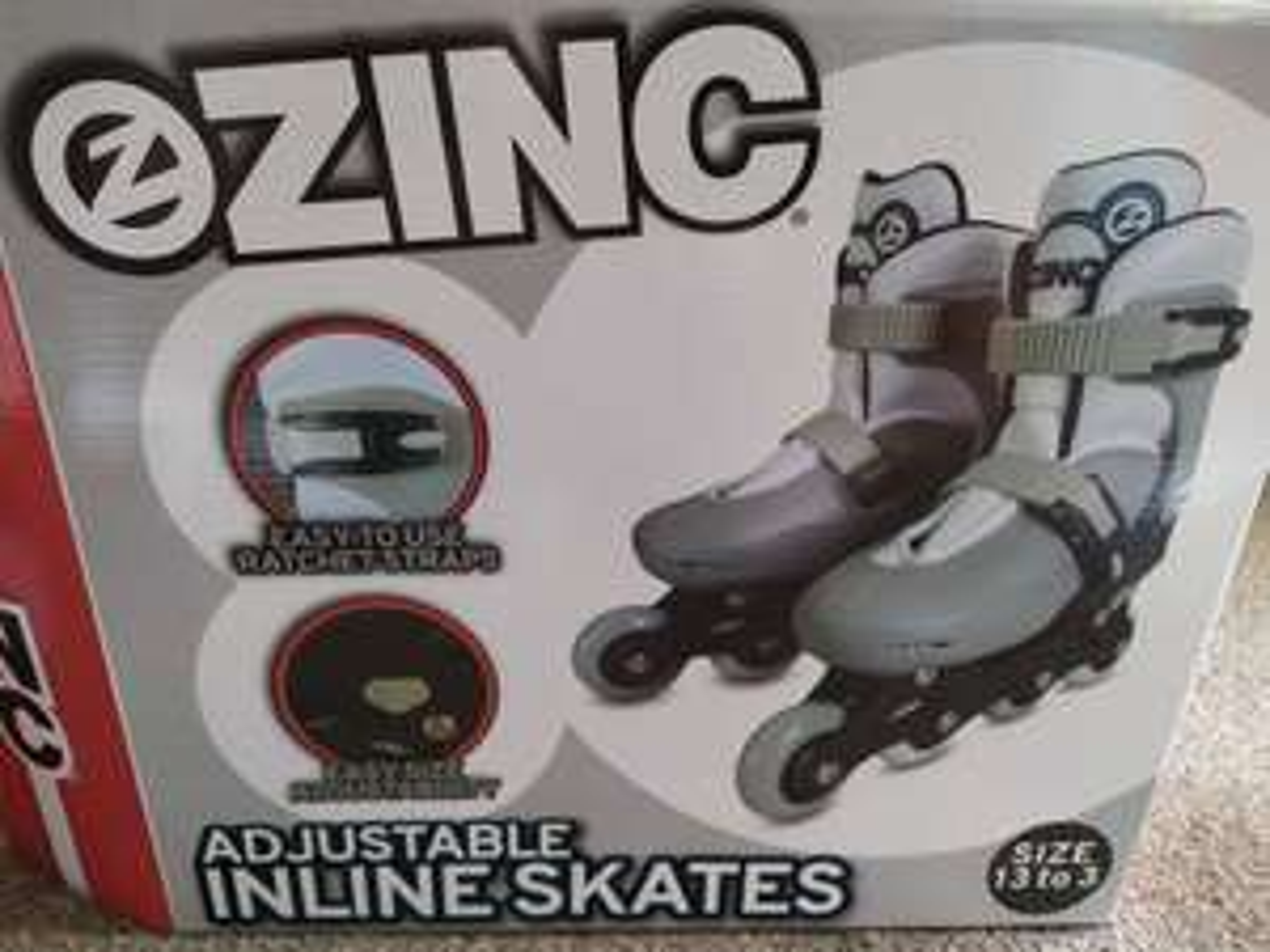 Zinc Adjustable Inline Skates (Size c13-3) £3.99 instore Clearance Bargains in Stanley, Durham