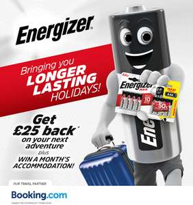 Spend £100+ on Booking.com and receive £25 Cashback with Energizer Batteries (battery purchase necessary)