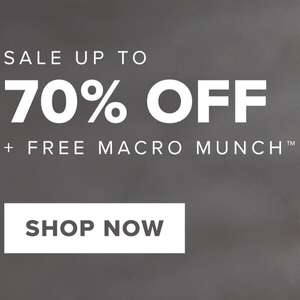 Up to 70% off + FREE Macro Munch Bar with £30 spend at Bulk Powders