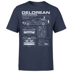 Back To The Future DeLorean Schematic T-Shirt Navy £8.99 Delivered w/code @ Zavvi (more in OP)