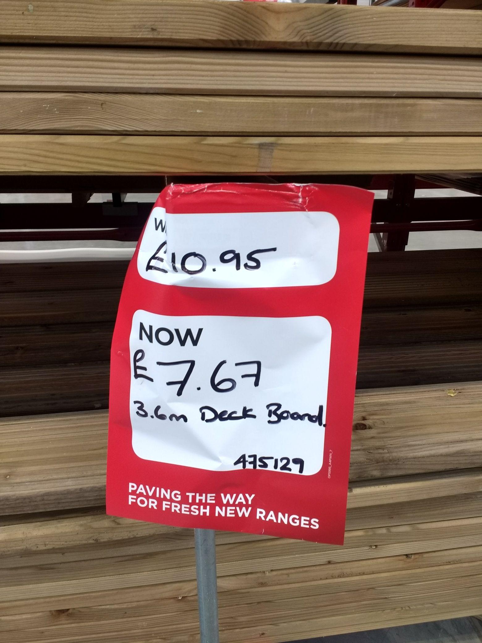 3.6m Deck Board £7.67 @ Homebase instore