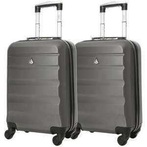 Set of 2 Aerolite (55 x 35 x 20cm) Lightweight Hard Shell Cabin Hand Luggage Cases in Charcoal £39.99 delivered @ Packed Direct