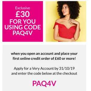 Open a Very Account and get £30 off a £60 spend