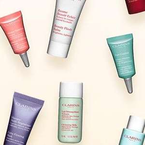 x9 Samples With £10 Spend @ Clarins (Plus £3.95 Standard Delivery)