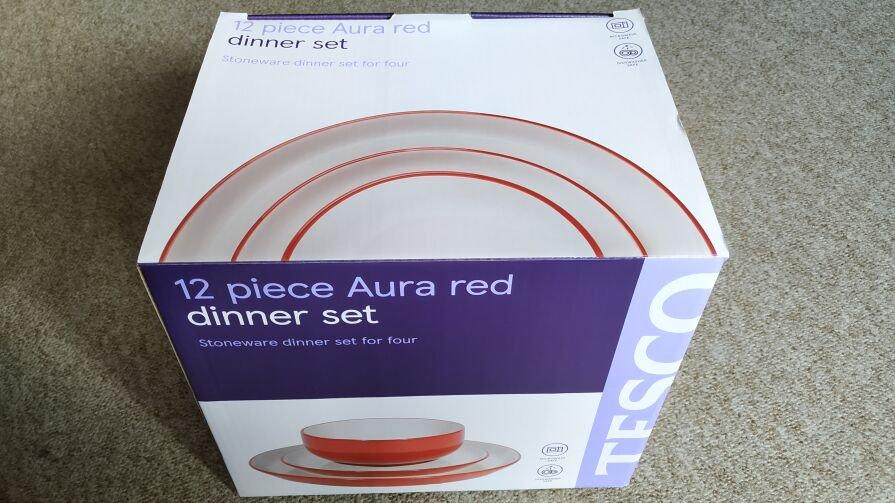 Tesco 12 Piece Aura Red Dinner Set - £4.50 In store.