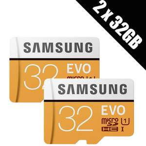 2 x Samsung Memory Evo 32GB Micro SDHC Card 95MB/s UHS-I U1 Class 10 with Adapter £8.50 @ Base