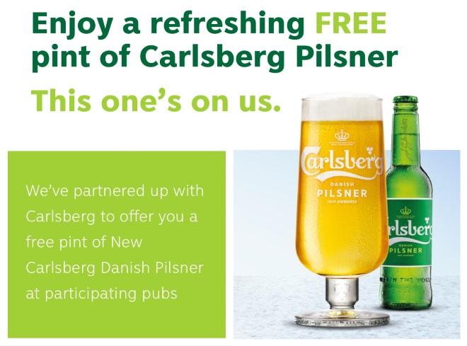 Free Pint of Carlsberg Danish Pilsner at Participating Marston's Venues
