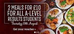 2 Meals for £10 For A Level Results Thursday 15th August @ Toby Carvery