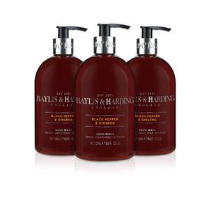 Baylis & Harding Hand Wash, Black Pepper and Ginseng, 500 ml, Pack of 3 now £3.99 add-on item at Amazon